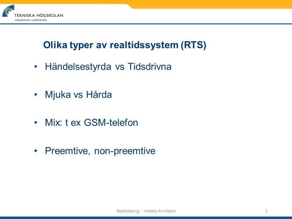 Realtidsprog.- Anders Arvidsson14 Att tänka på Risk för baklås.