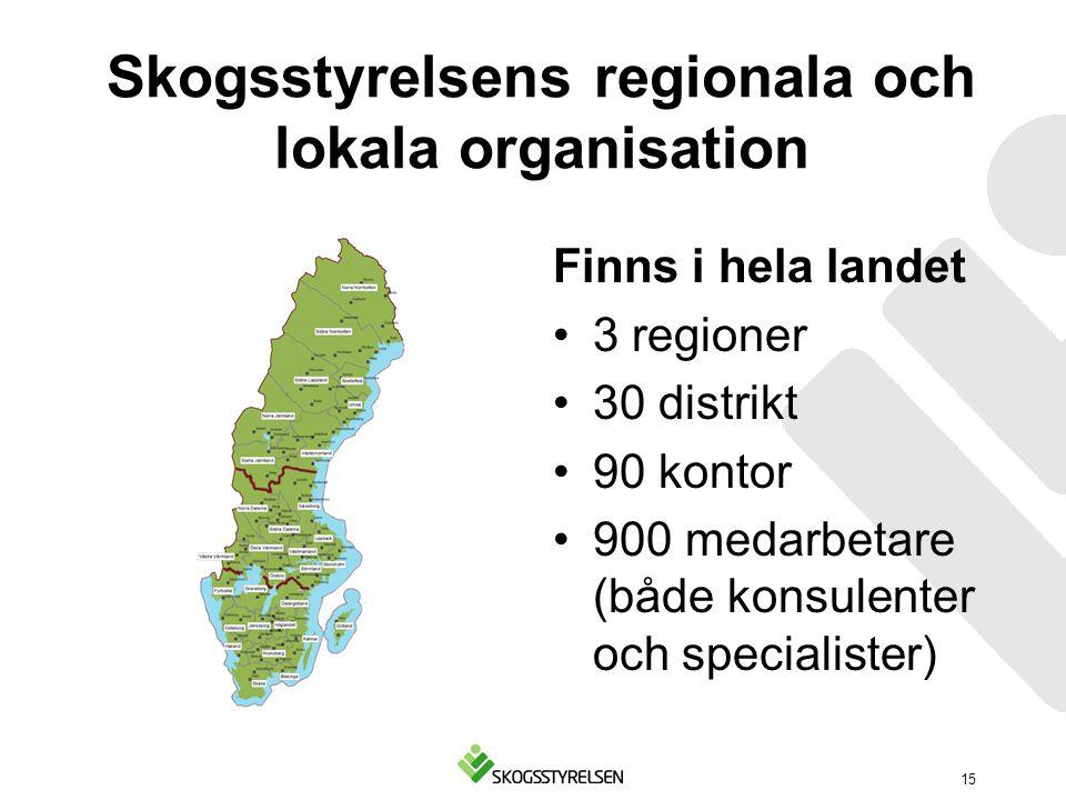 Skogsstyrelsens regionala och lokala organisation Finns i hela landet 3 regioner 30 distrikt 90 kontor 900 medarbetare (både konsulenter och specialis