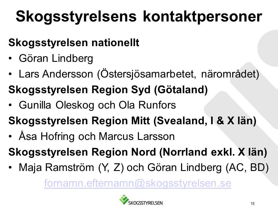 Skogsstyrelsens kontaktpersoner Skogsstyrelsen nationellt Göran Lindberg Lars Andersson (Östersjösamarbetet, närområdet) Skogsstyrelsen Region Syd (Gö