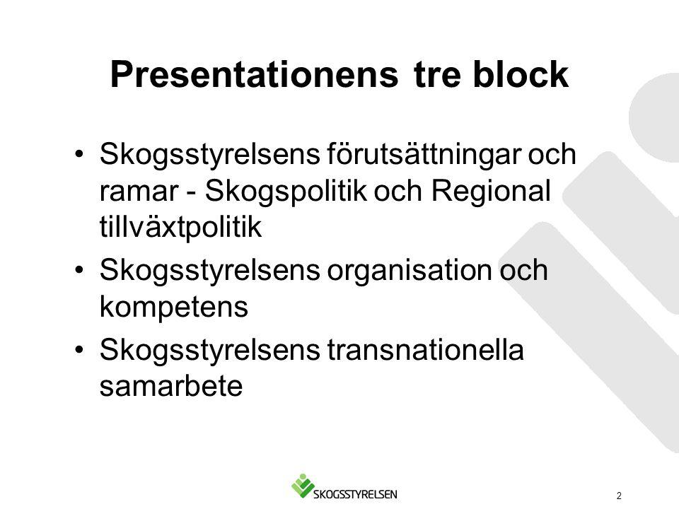 Presentationens tre block Skogsstyrelsens förutsättningar och ramar - Skogspolitik och Regional tillväxtpolitik Skogsstyrelsens organisation och kompe