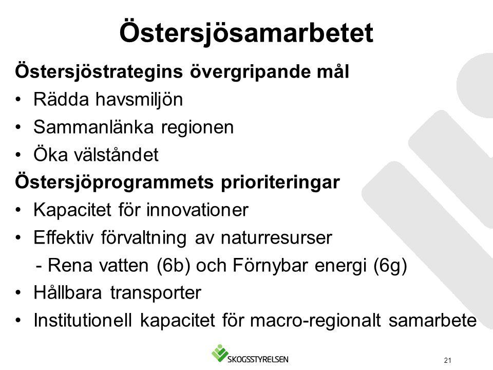 Östersjösamarbetet Östersjöstrategins övergripande mål Rädda havsmiljön Sammanlänka regionen Öka välståndet Östersjöprogrammets prioriteringar Kapacit
