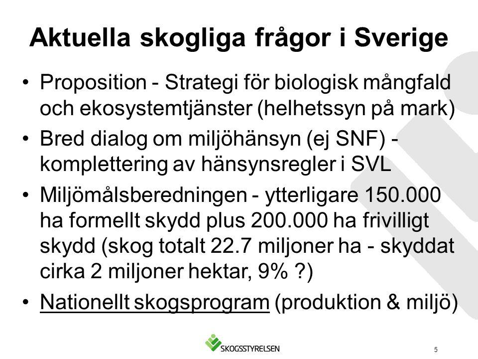 Aktuella skogliga frågor i Sverige Proposition - Strategi för biologisk mångfald och ekosystemtjänster (helhetssyn på mark) Bred dialog om miljöhänsyn