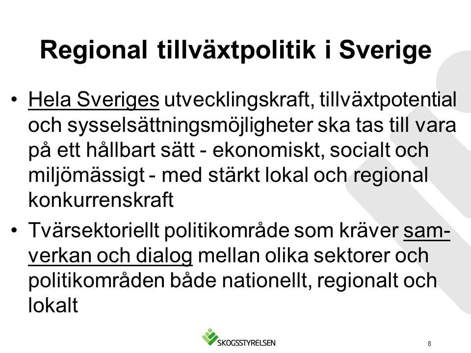 Regional tillväxtpolitik i Sverige Hela Sveriges utvecklingskraft, tillväxtpotential och sysselsättningsmöjligheter ska tas till vara på ett hållbart