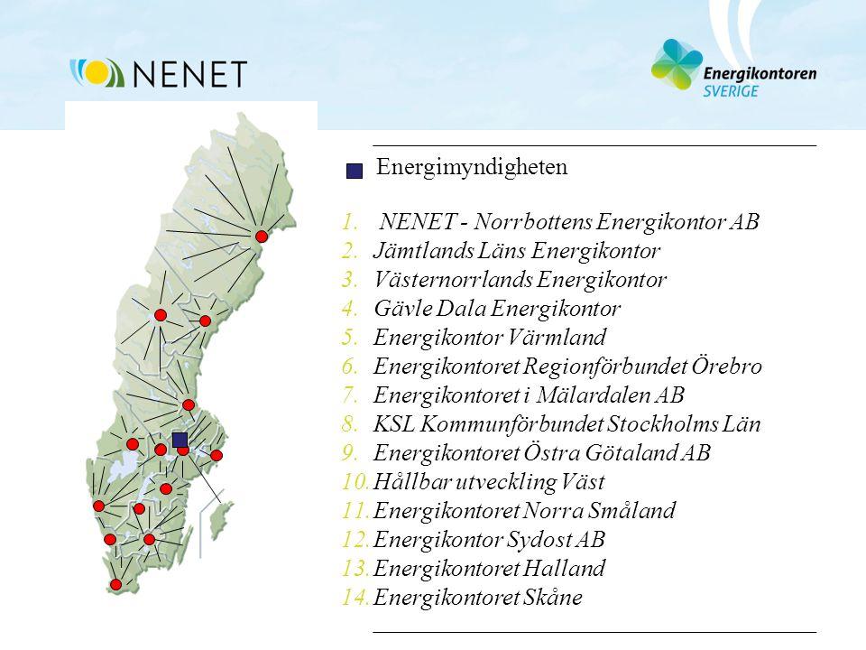 1. NENET - Norrbottens Energikontor AB 2.Jämtlands Läns Energikontor 3.Västernorrlands Energikontor 4.Gävle Dala Energikontor 5.Energikontor Värmland