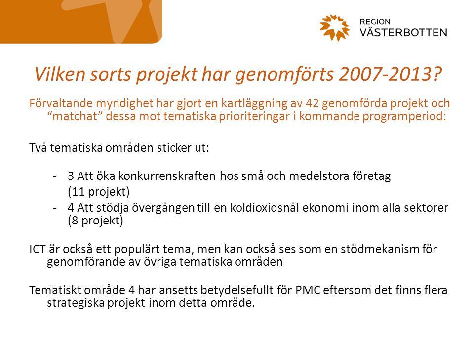 """Vilken sorts projekt har genomförts 2007-2013? Förvaltande myndighet har gjort en kartläggning av 42 genomförda projekt och """"matchat"""" dessa mot temati"""