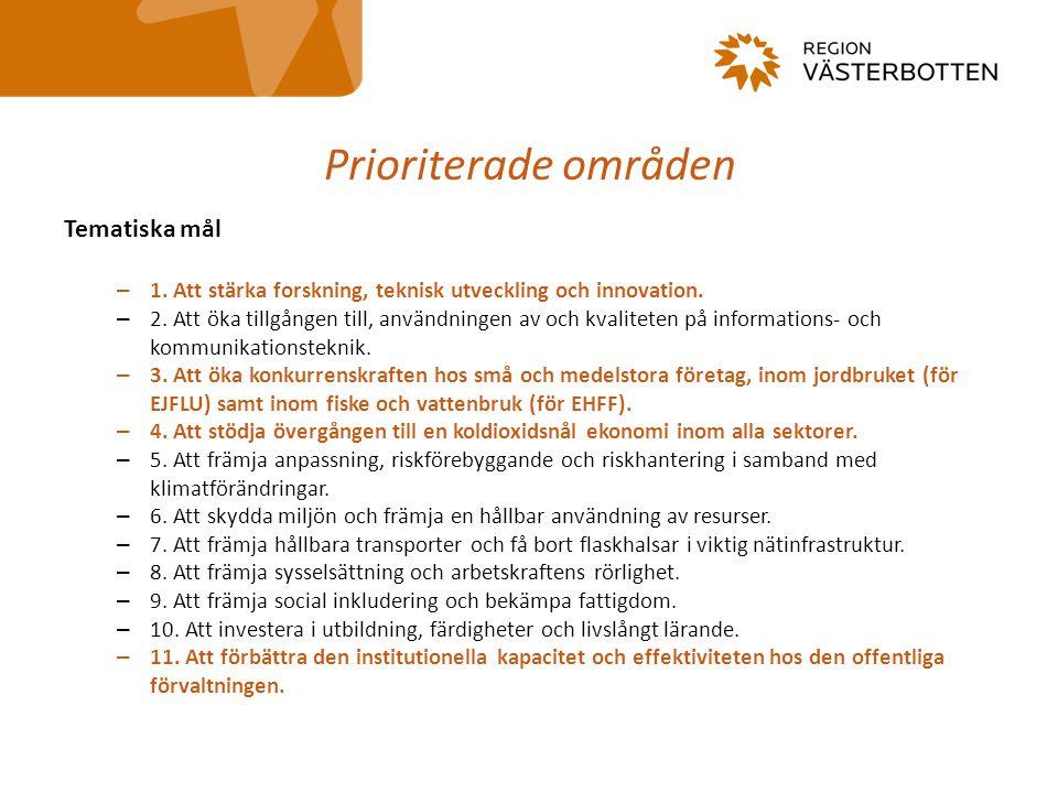 Prioriterade områden Tematiska mål – 1. Att stärka forskning, teknisk utveckling och innovation. – 2. Att öka tillgången till, användningen av och kva