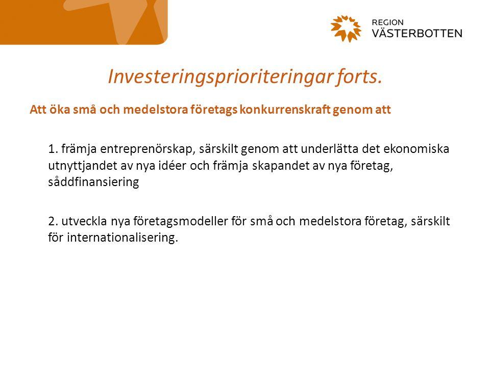 Investeringsprioriteringar forts. Att öka små och medelstora företags konkurrenskraft genom att 1. främja entreprenörskap, särskilt genom att underlät