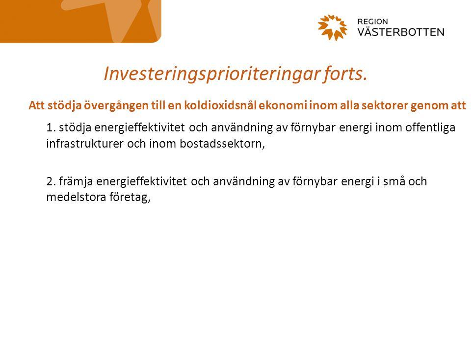 Investeringsprioriteringar forts. Att stödja övergången till en koldioxidsnål ekonomi inom alla sektorer genom att 1. stödja energieffektivitet och an