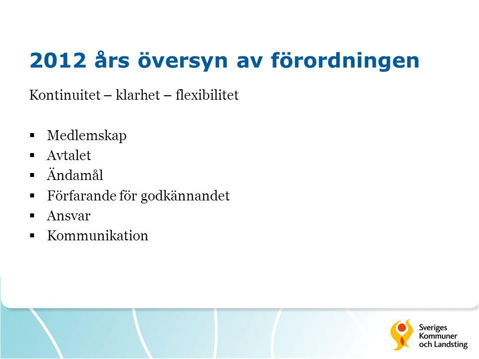 2012 års översyn av förordningen Kontinuitet – klarhet – flexibilitet  Medlemskap  Avtalet  Ändamål  Förfarande för godkännandet  Ansvar  Kommunikation