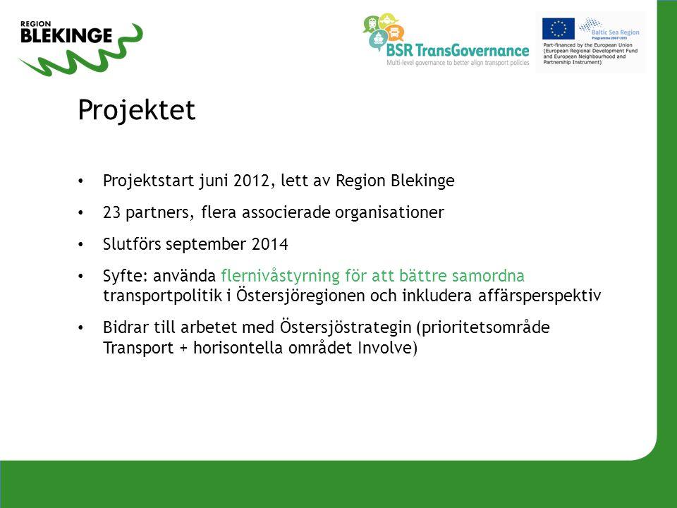 Projektet Projektstart juni 2012, lett av Region Blekinge 23 partners, flera associerade organisationer Slutförs september 2014 Syfte: använda flerniv
