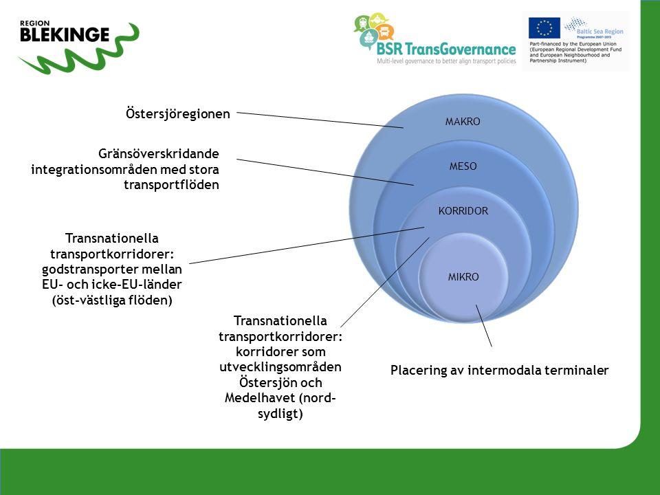 Transnationella transportkorridorer: godstransporter mellan EU- och icke-EU-länder (öst-västliga flöden) Transnationella transportkorridorer: korridor