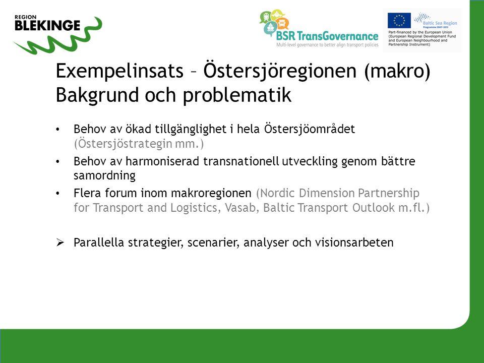 Exempelinsats – Östersjöregionen (makro) Bakgrund och problematik Behov av ökad tillgänglighet i hela Östersjöområdet (Östersjöstrategin mm.) Behov av