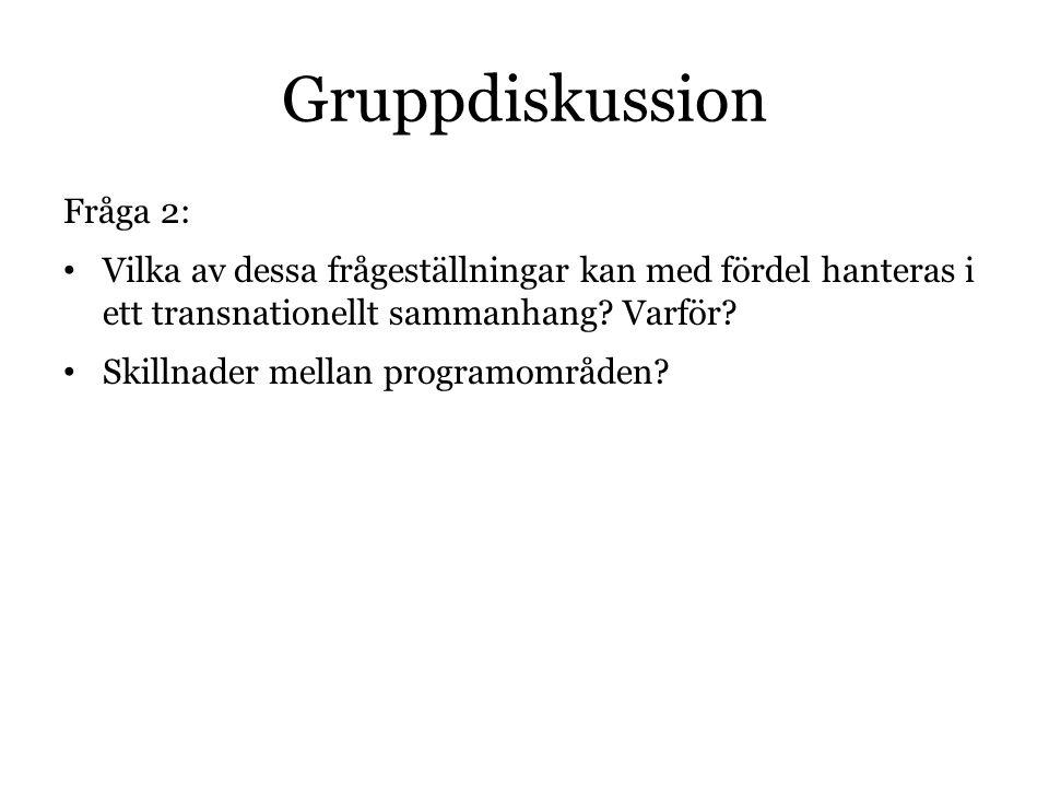 Gruppdiskussion Fråga 2: Vilka av dessa frågeställningar kan med fördel hanteras i ett transnationellt sammanhang? Varför? Skillnader mellan programom