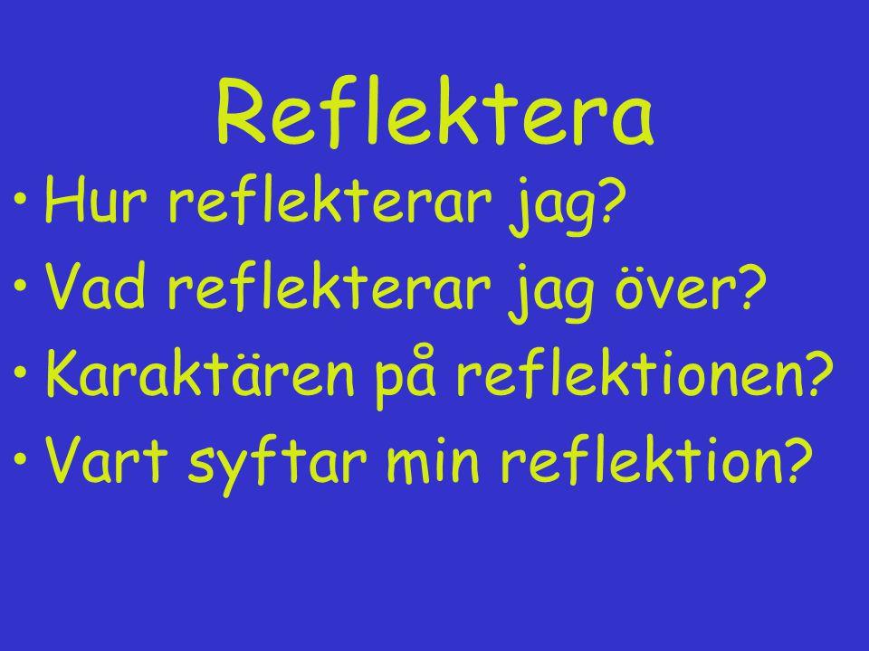 Reflektera Hur reflekterar jag? Vad reflekterar jag över? Karaktären på reflektionen? Vart syftar min reflektion?