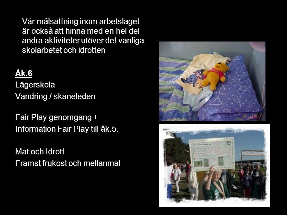 Åk.6 Lägerskola Vandring / skåneleden Fair Play genomgång + Information Fair Play till åk.5. Mat och Idrott Främst frukost och mellanmål Vår målsättni
