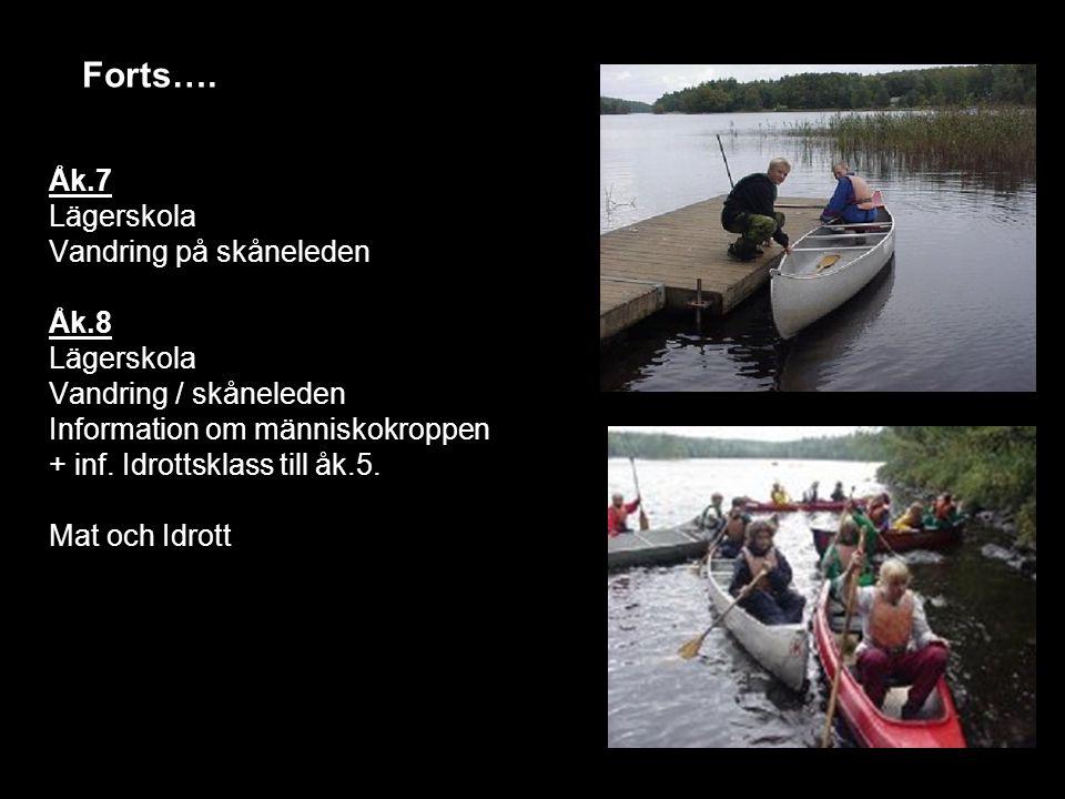 Åk.7 Lägerskola Vandring på skåneleden Åk.8 Lägerskola Vandring / skåneleden Information om människokroppen + inf. Idrottsklass till åk.5. Mat och Idr