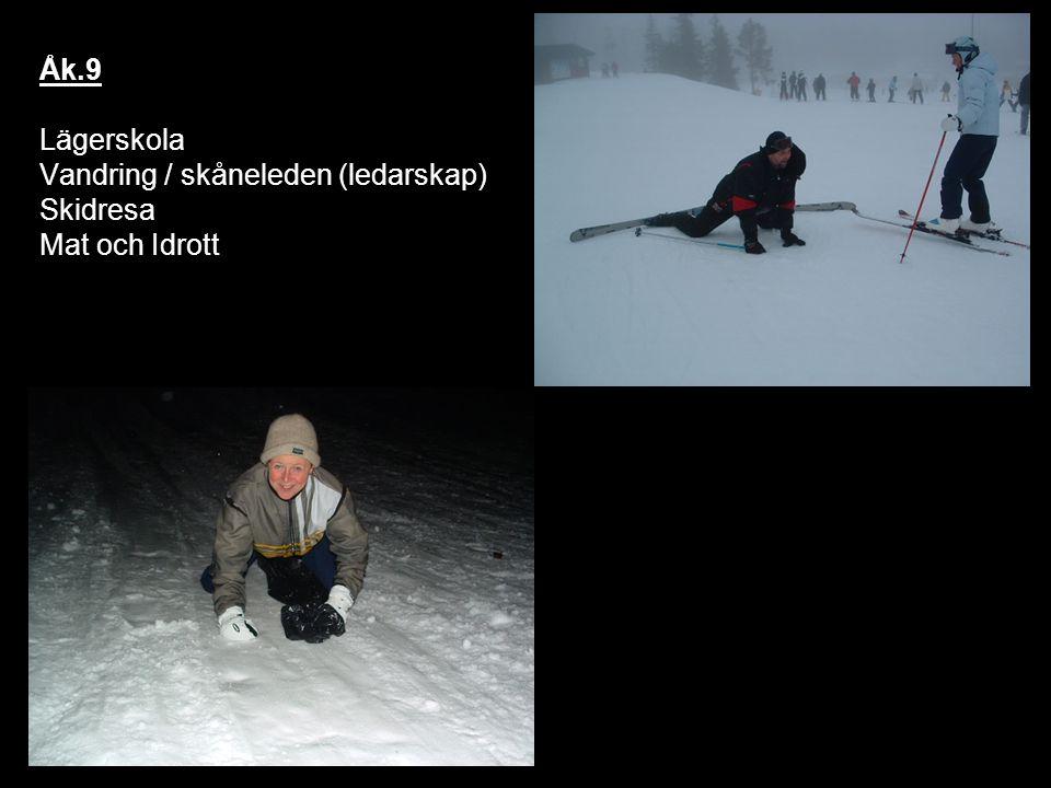 Åk.9 Lägerskola Vandring / skåneleden (ledarskap) Skidresa Mat och Idrott