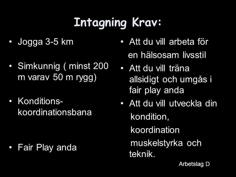 Intagning Krav: Jogga 3-5 km Simkunnig ( minst 200 m varav 50 m rygg) Konditions- koordinationsbana Fair Play anda Att du vill arbeta för en hälsosam