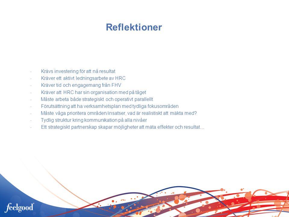 Reflektioner -Krävs investering för att nå resultat -Kräver ett aktivt ledningsarbete av HRC -Kräver tid och engagemang från FHV -Kräver att HRC har sin organisation med på tåget -Måste arbeta både strategiskt och operativt parallellt -Förutsättning att ha verksamhetsplan med tydliga fokusområden -Måste våga prioritera områden/insatser, vad är realistiskt att mäkta med.