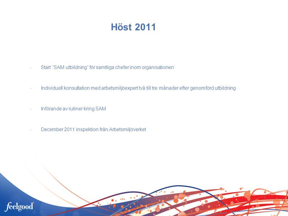 Höst 2011 -Start SAM utbildning för samtliga chefer inom organisationen -Individuell konsultation med arbetsmiljöexpert två till tre månader efter genomförd utbildning -Införande av rutiner kring SAM -December 2011 inspektion från Arbetsmiljöverket