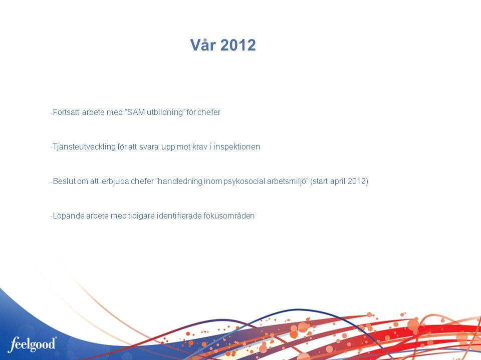 Vår 2012 -Fortsatt arbete med SAM utbildning för chefer -Tjänsteutveckling för att svara upp mot krav i inspektionen -Beslut om att erbjuda chefer handledning inom psykosocial arbetsmiljö (start april 2012) -Löpande arbete med tidigare identifierade fokusområden