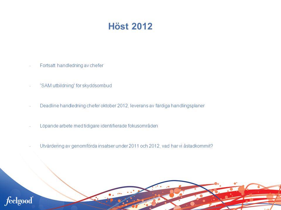 Höst 2012 -Fortsatt handledning av chefer - SAM utbildning för skyddsombud -Deadline handledning chefer oktober 2012, leverans av färdiga handlingsplaner -Löpande arbete med tidigare identifierade fokusområden -Utvärdering av genomförda insatser under 2011 och 2012, vad har vi åstadkommit