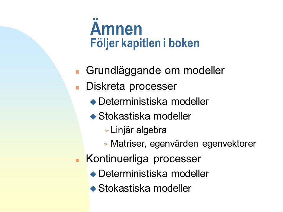 Ämnen Följer kapitlen i boken n Grundläggande om modeller n Diskreta processer u Deterministiska modeller u Stokastiska modeller F Linjär algebra F Ma