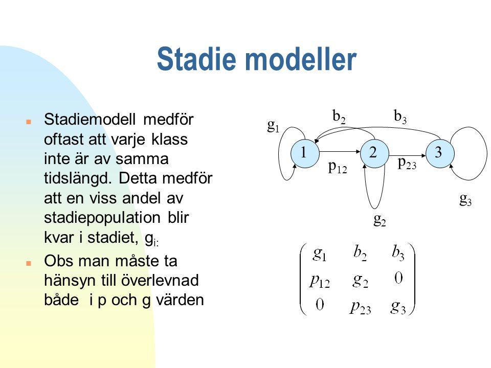 Stadie modeller n Stadiemodell medför oftast att varje klass inte är av samma tidslängd. Detta medför att en viss andel av stadiepopulation blir kvar