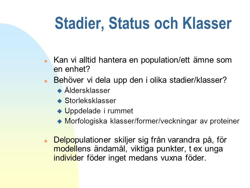 Stadier, Status och Klasser n Kan vi alltid hantera en population/ett ämne som en enhet? n Behöver vi dela upp den i olika stadier/klasser? u Ålderskl