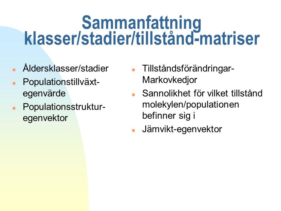Sammanfattning klasser/stadier/tillstånd-matriser n Åldersklasser/stadier n Populationstillväxt- egenvärde n Populationsstruktur- egenvektor n Tillstå