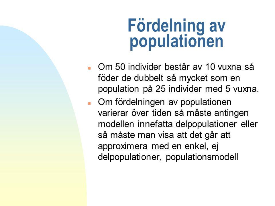 Fördelning av populationen n Om 50 individer består av 10 vuxna så föder de dubbelt så mycket som en population på 25 individer med 5 vuxna. n Om förd