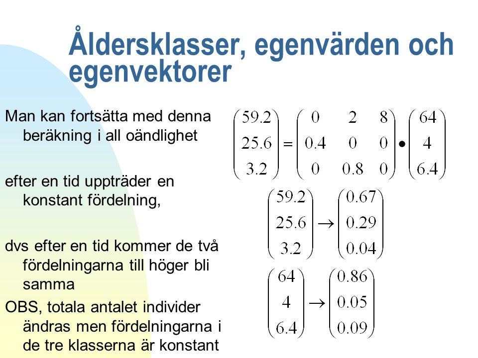 Åldersklasser, egenvärden och egenvektorer Man kan fortsätta med denna beräkning i all oändlighet efter en tid uppträder en konstant fördelning, dvs e