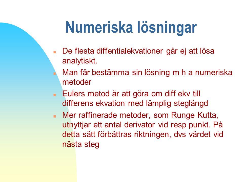 Numeriska lösningar n De flesta diffentialekvationer går ej att lösa analytiskt. n Man får bestämma sin lösning m h a numeriska metoder n Eulers metod
