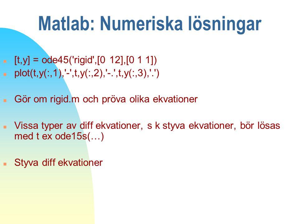 Matlab: Numeriska lösningar n [t,y] = ode45('rigid',[0 12],[0 1 1]) n plot(t,y(:,1),'-',t,y(:,2),'-.',t,y(:,3),'.') n Gör om rigid.m och pröva olika e
