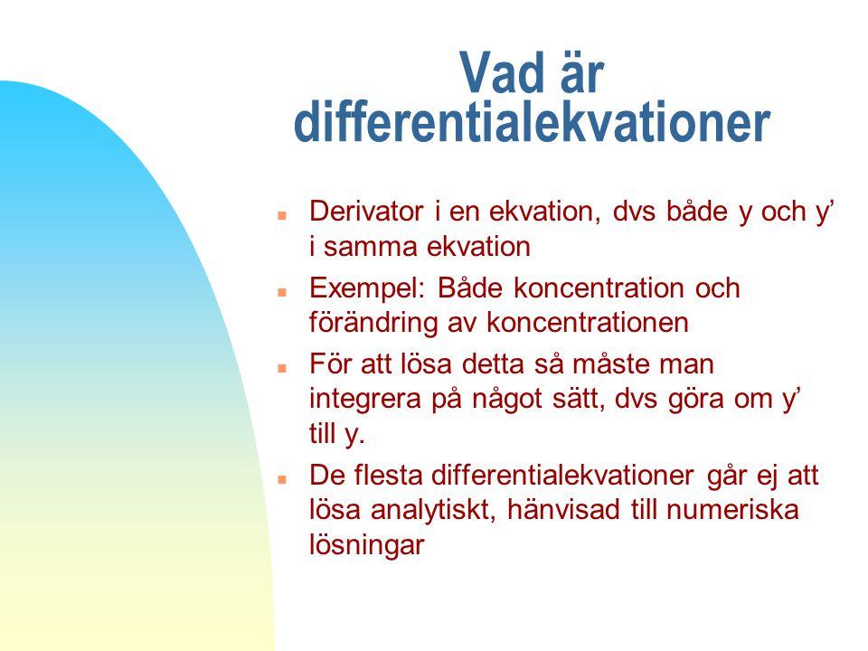 Vad är differentialekvationer n Derivator i en ekvation, dvs både y och y' i samma ekvation n Exempel: Både koncentration och förändring av koncentrat