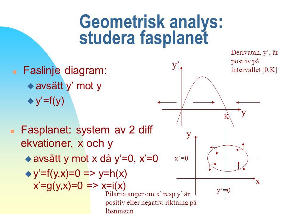 Geometrisk analys: studera fasplanet n Faslinje diagram: u avsätt y' mot y u y'=f(y) y y' K Derivatan, y', är positiv på intervallet [0,K] x y Pilarna