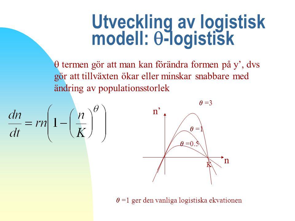 Utveckling av logistisk modell:  -logistisk  termen gör att man kan förändra formen på y', dvs gör att tillväxten ökar eller minskar snabbare med än
