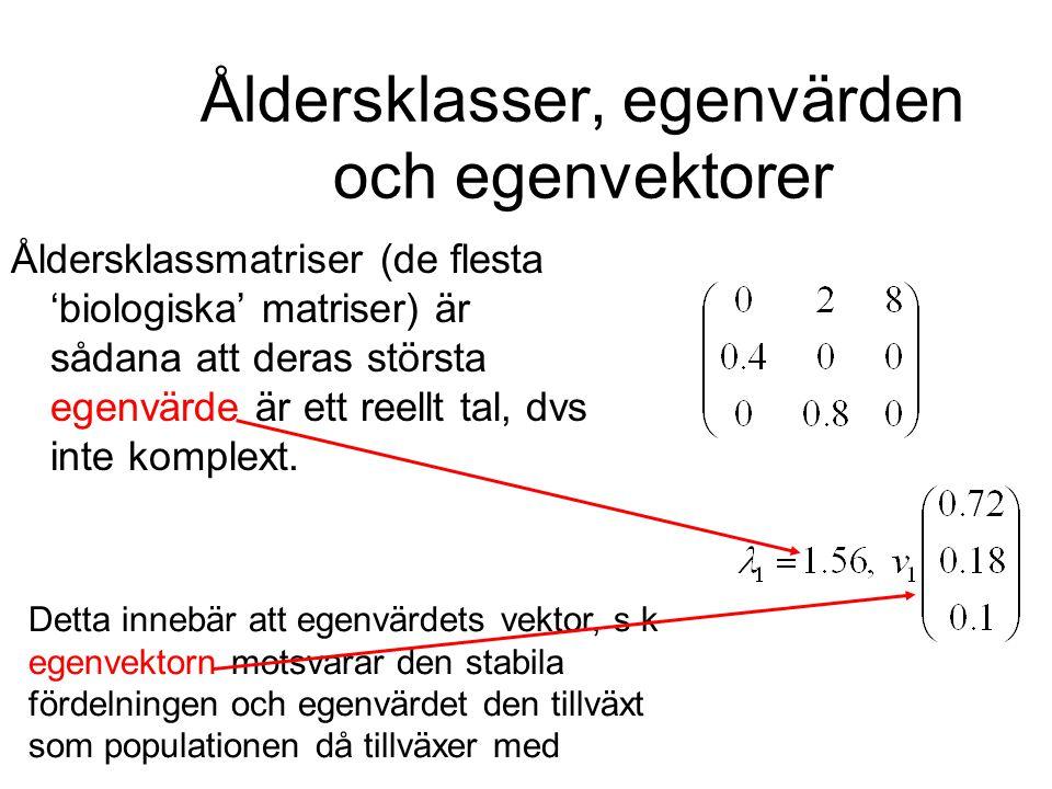 Åldersklasser, egenvärden och egenvektorer Åldersklassmatriser (de flesta 'biologiska' matriser) är sådana att deras största egenvärde är ett reellt t