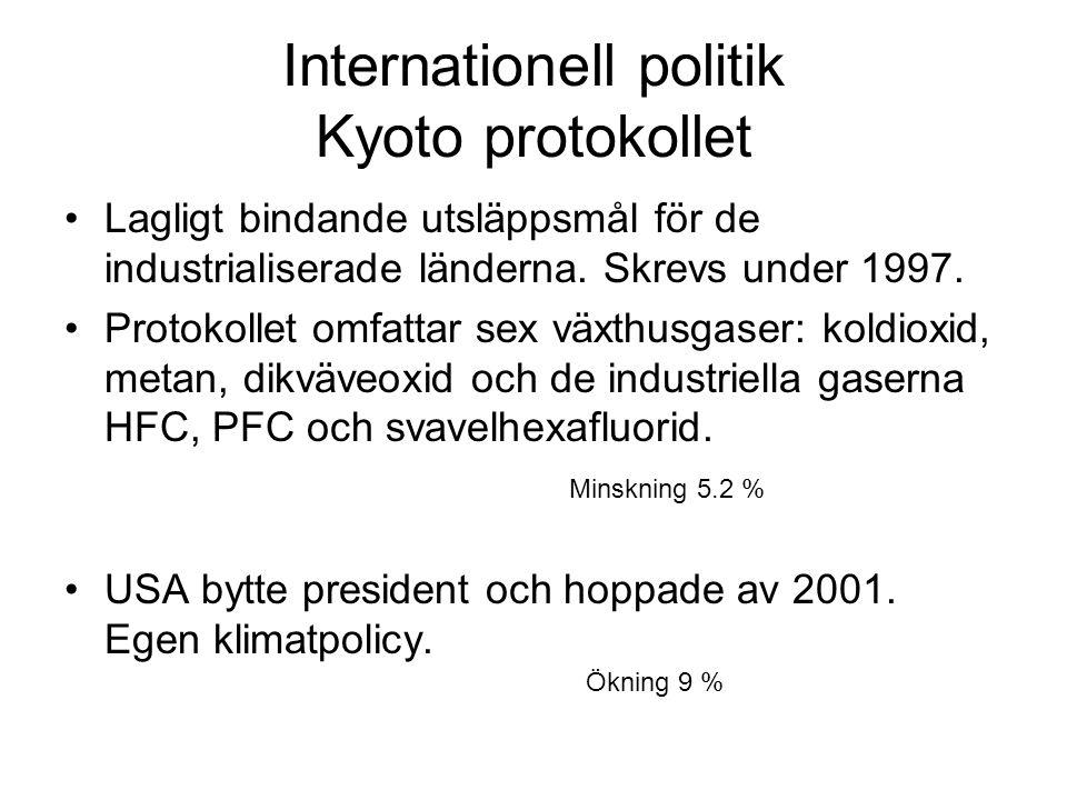 Internationell politik Kyoto protokollet Lagligt bindande utsläppsmål för de industrialiserade länderna. Skrevs under 1997. Protokollet omfattar sex v