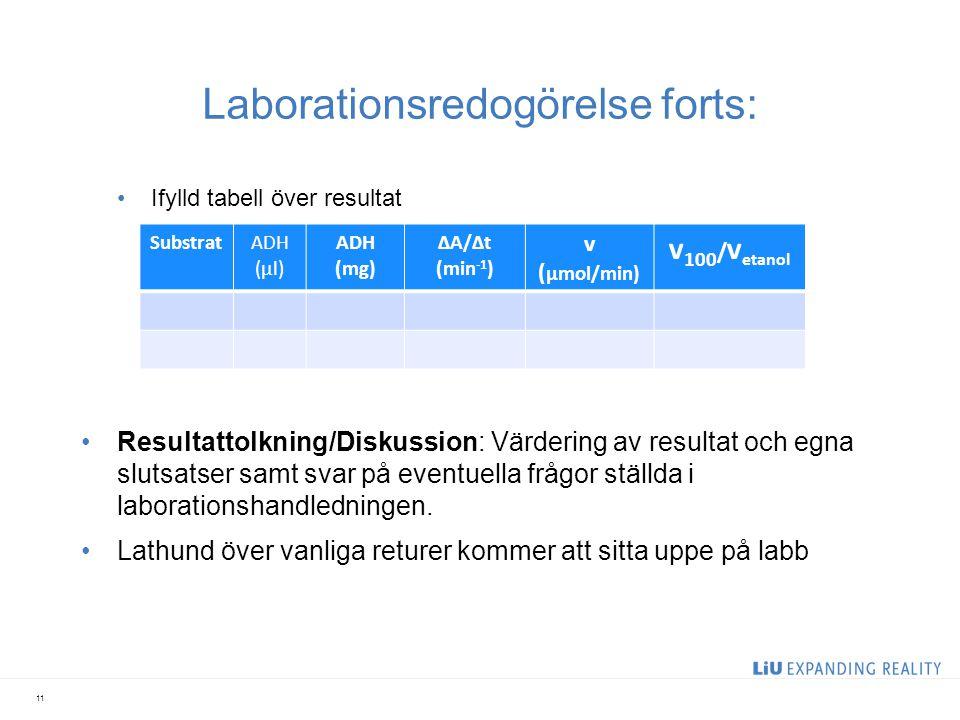 Laborationsredogörelse forts: Ifylld tabell över resultat Resultattolkning/Diskussion: Värdering av resultat och egna slutsatser samt svar på eventuel