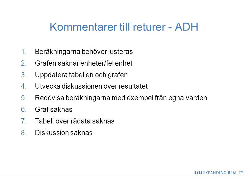 Kommentarer till returer - ADH 1.Beräkningarna behöver justeras 2.Grafen saknar enheter/fel enhet 3.Uppdatera tabellen och grafen 4.Utvecka diskussion