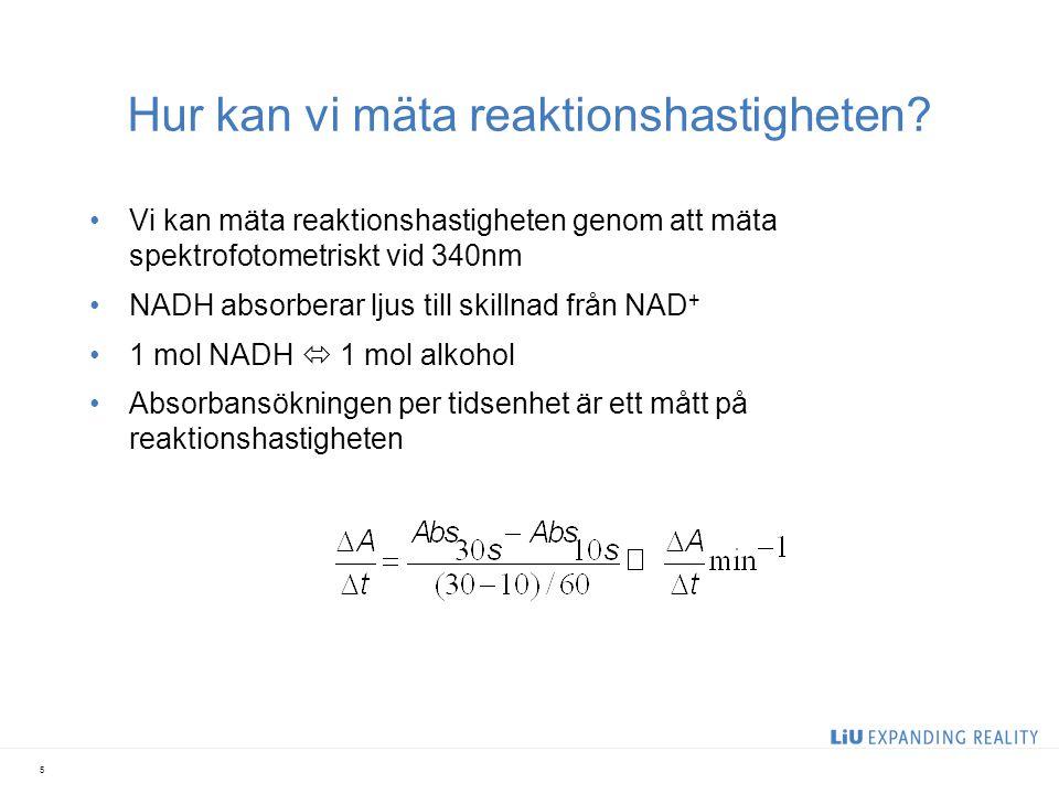 Hur kan vi mäta reaktionshastigheten? Vi kan mäta reaktionshastigheten genom att mäta spektrofotometriskt vid 340nm NADH absorberar ljus till skillnad