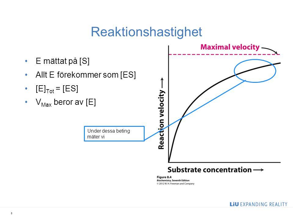 Absorbans jämfört med reaktionshastighet 7 Konstant hastighet Överskottet substrat är slut => Reaktionen har nått jämvikt Ger oss hastigheten i min -1 men vi vill ha µmol/min