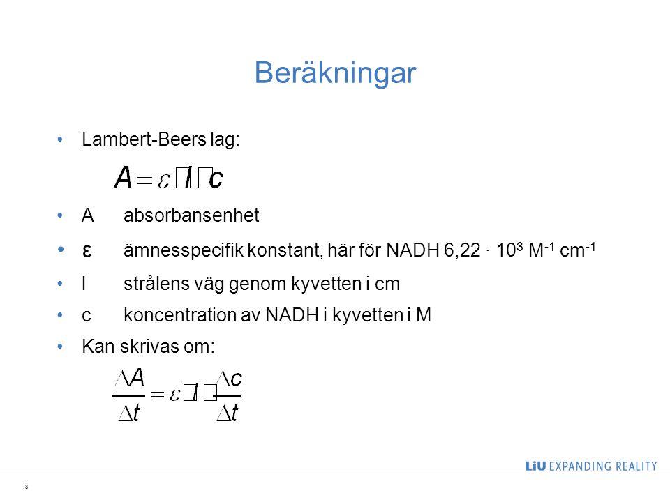 Beräkningar Lambert-Beers lag: Aabsorbansenhet ε ämnesspecifik konstant, här för NADH 6,22 ∙ 10 3 M -1 cm -1 lstrålens väg genom kyvetten i cm ckoncen