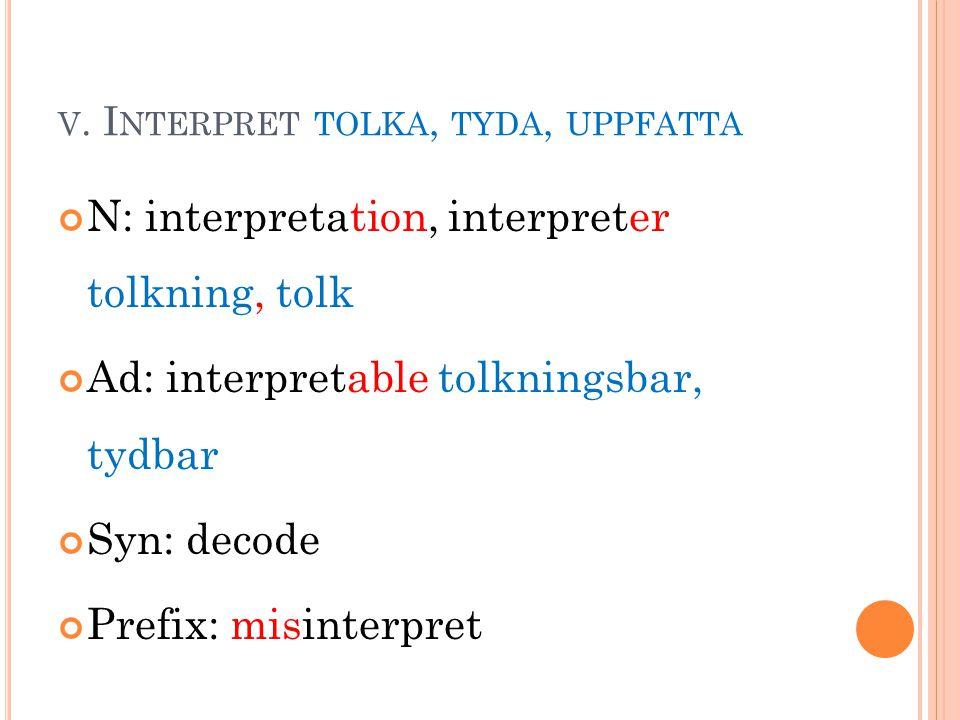 V. I NTERPRET TOLKA, TYDA, UPPFATTA N: interpretation, interpreter tolkning, tolk Ad: interpretable tolkningsbar, tydbar Syn: decode Prefix: misinterp