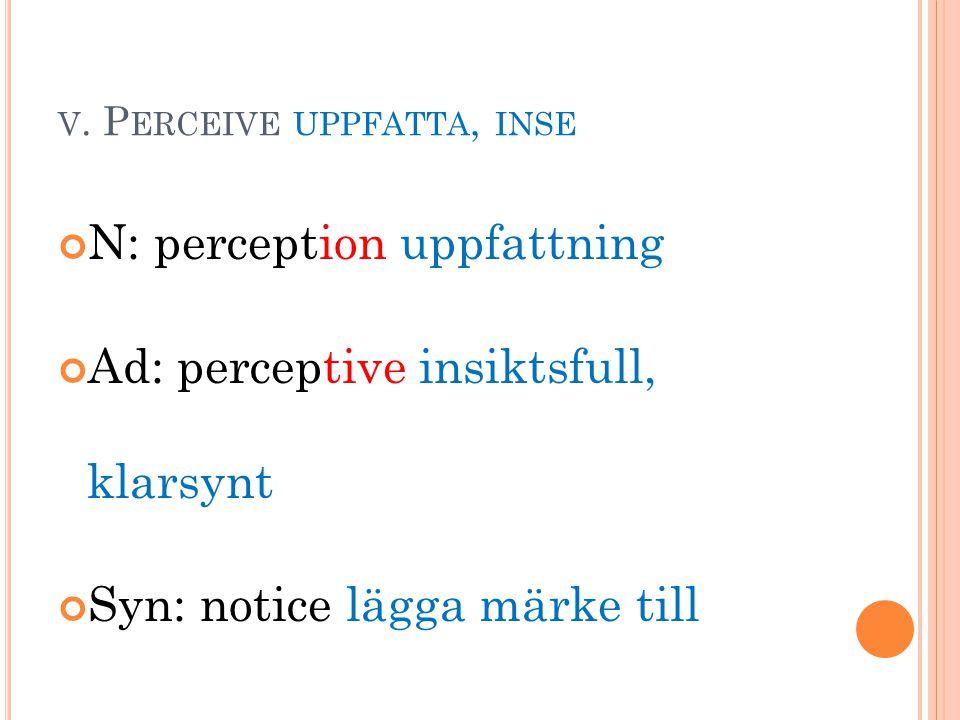 V. P ERCEIVE UPPFATTA, INSE N: perception uppfattning Ad: perceptive insiktsfull, klarsynt Syn: notice lägga märke till