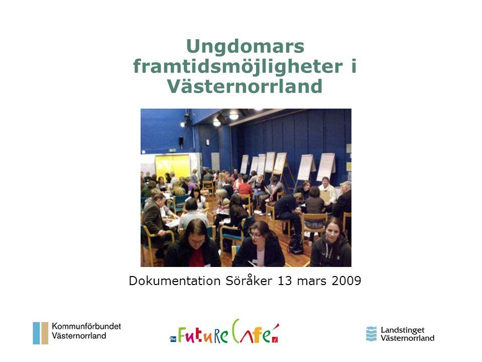 1 Ungdomars framtidsmöjligheter i Västernorrland Dokumentation Söråker 13 mars 2009