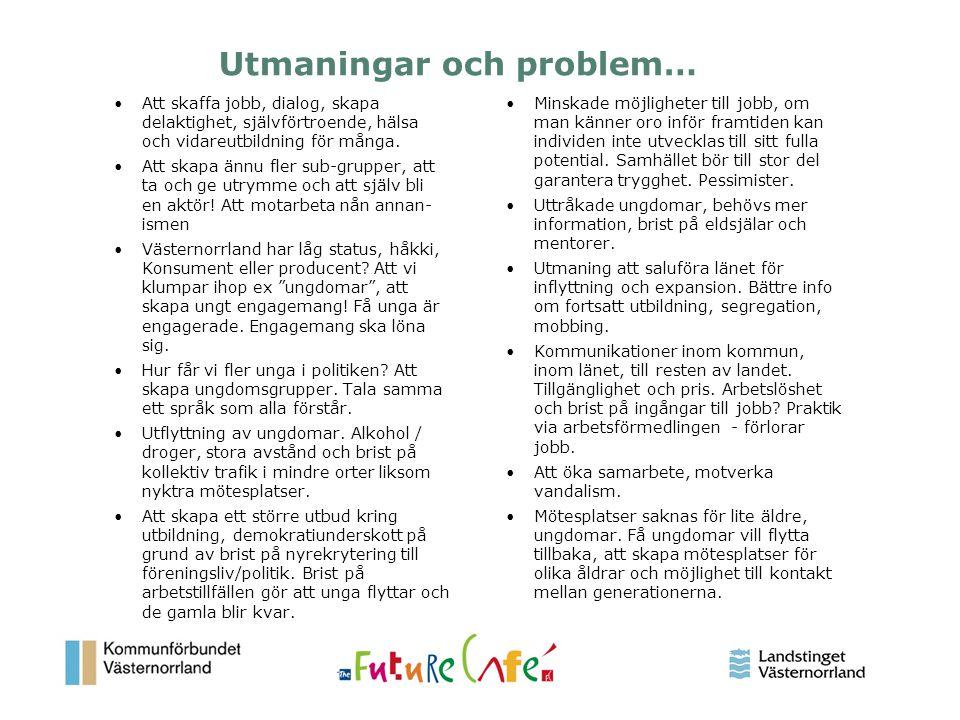 11 Utmaningar och problem… Att skaffa jobb, dialog, skapa delaktighet, självförtroende, hälsa och vidareutbildning för många. Att skapa ännu fler sub-