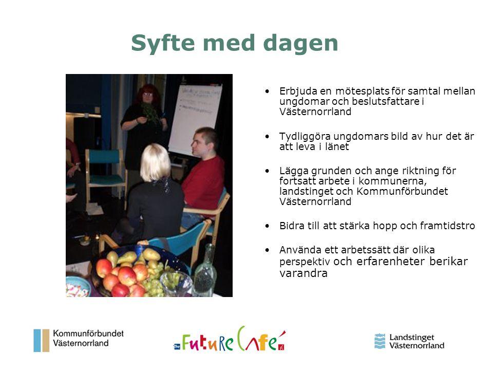 2 Syfte med dagen Erbjuda en mötesplats för samtal mellan ungdomar och beslutsfattare i Västernorrland Tydliggöra ungdomars bild av hur det är att lev