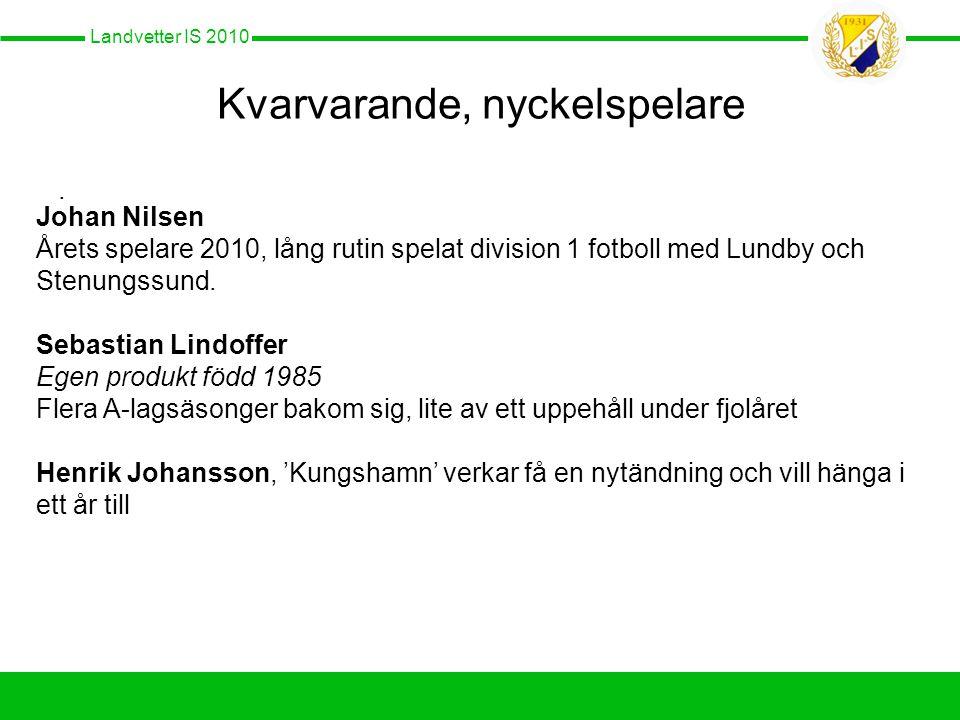 Landvetter IS 2010 Kvarvarande, nyckelspelare.